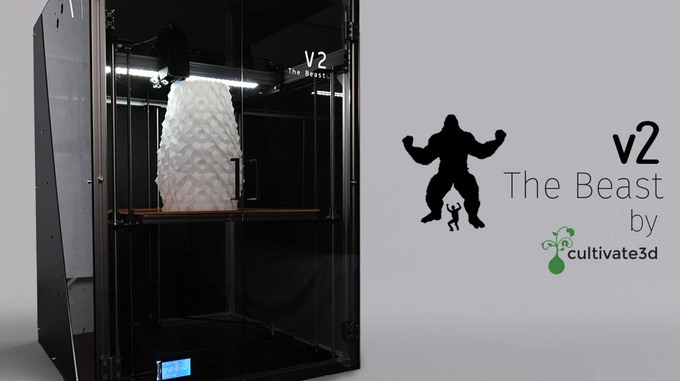 大型デスクトップ3Dプリンター「ビースト3DプリンターV2」のキックスターターキャンペーンが開始