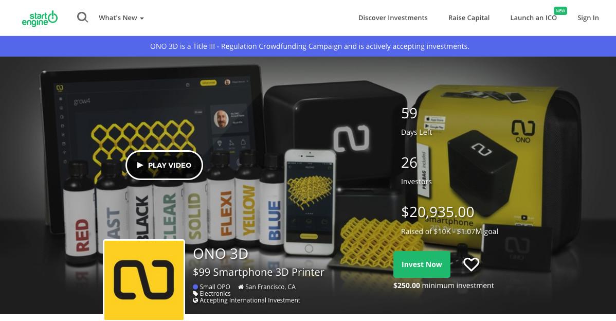 スマートフォン3DプリンターメーカーのONOが新たなクラウドファンディングキャンペーンを開始